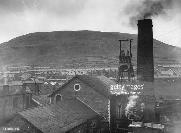 The Naval Colliery towering over Tonypandy in the Rhondda Valley Glamorgan Wales 24th January 1949