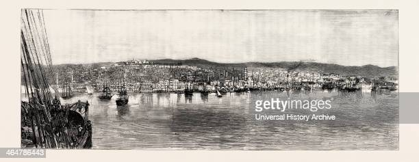 The Naval Manoeuvres With The Hostile Fleet The Fire At Salonica Thessaloniki View Of The Town From The Sea Greece 1890 Engraving