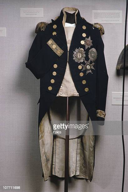 The naval uniform belonging to Lord Admiral Horatio Nelson in which he was fatally wounded at the Battle of Trafalgar on display at the National...