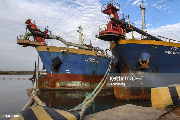 The Navayuga 6 left and the Navayuga 2 dredgers sit docked at Krishnapatnam Port in Krishnapatnam Andhra Pradesh India on Saturday Aug 12 2017 Growth...