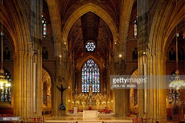 The nave and the altar of the Catholic Cathedral of St Patrick NeoGothic style Armagh Northern Ireland United Kingdom