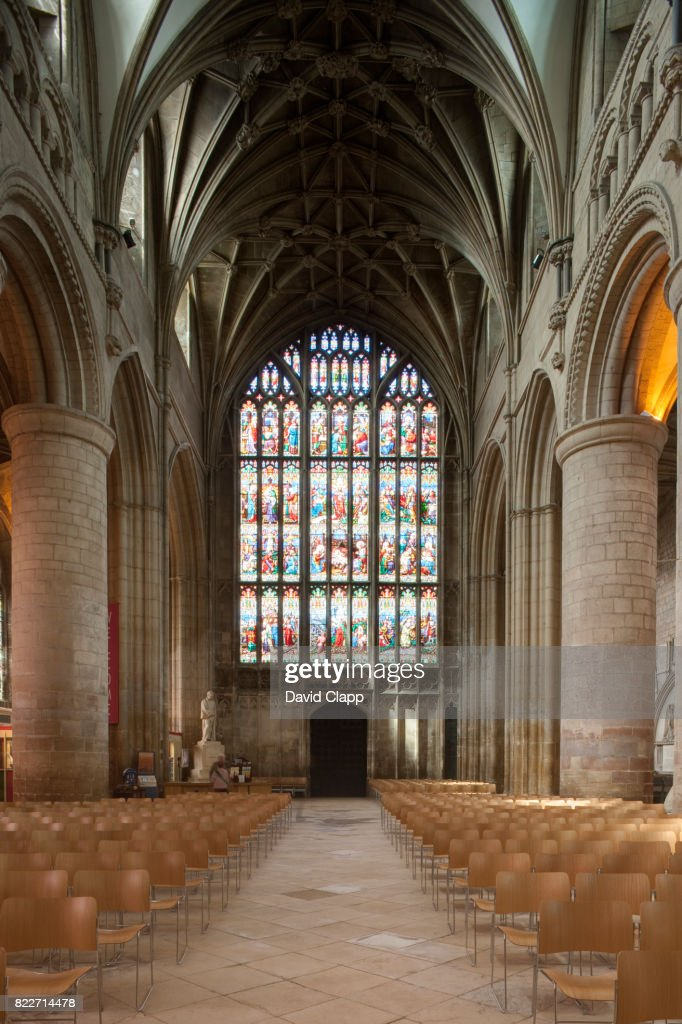 The nave inside Gloucester Cathedral, Gloucestershire : Stock Photo