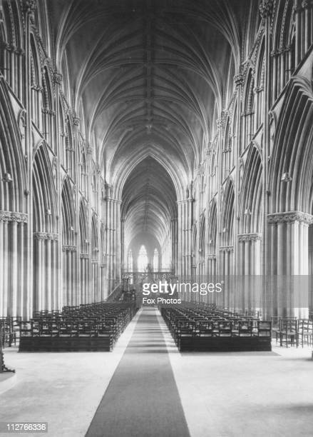The nave, looking east, of Lichfield Cathedral, Staffordshire, circa 1950.