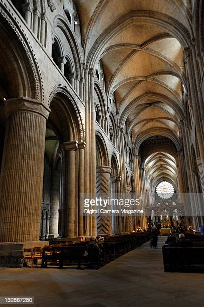 The nave of Durham Cathedral, leading to St Cuthberts Shrine and Chapel of the Nine Alters, Durham, September 3, 2010.