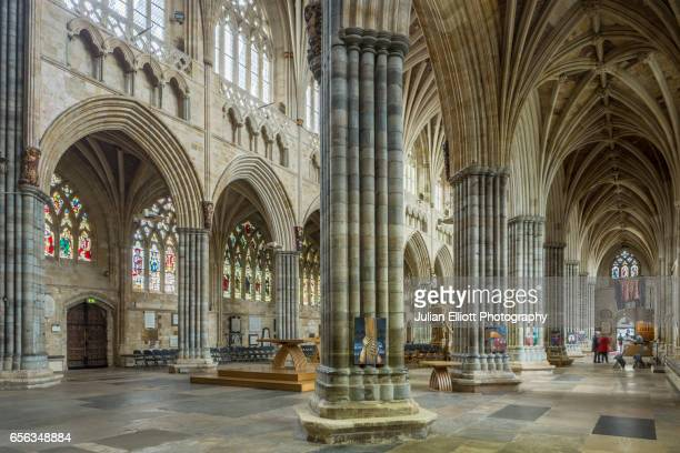 The nave of Exeter cathedral, UK.