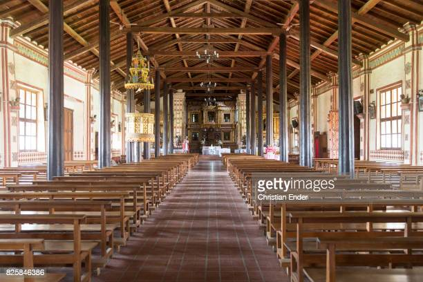 Bolivia San Jose de Chiquitos November 25 2016 The nave of Jesuit reduction in San Jose with its pews in front of the high altar
