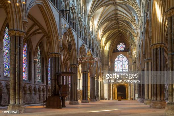 the nave of lincoln cathedral in england, uk. - nave stock pictures, royalty-free photos & images