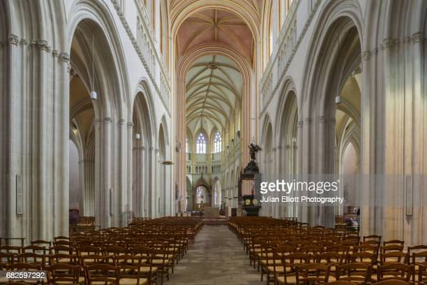 The nave of Quimper cathedral, France.