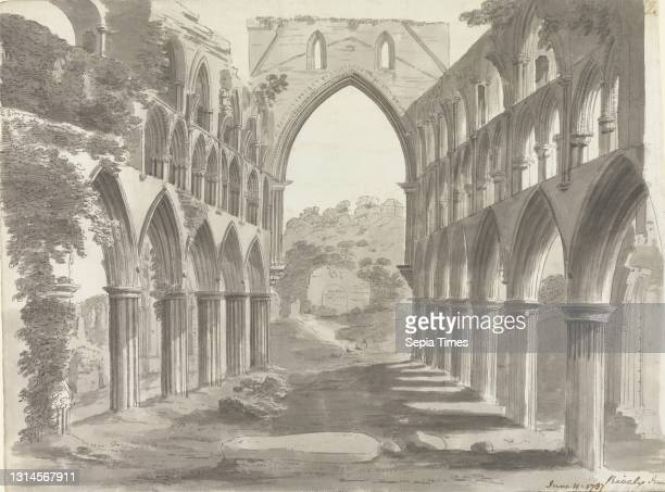 The Nave of Rievaulx Abbey, Yorkshire, unknown artist Graphite, pen and gray ink, and gray wash on medium, slightly textured, cream laid paper,...
