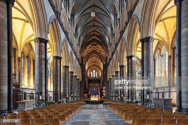 the nave of salisbury cathedral, uk - church stock pictures, royalty-free photos & images