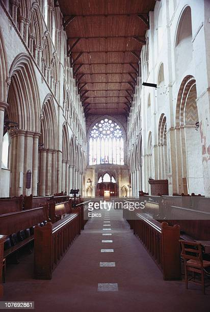 The nave of St Albans abbey St Albans Cathedral featuring norman arches and is the longest nave of any cathedral in Britain St Albans Hertfordshire...