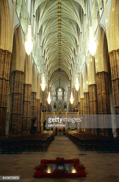 The nave of Westminster Abbey. It's renovation was undertaken in 1376 after a century's pause and was to continue until the year 1500. The nave has...