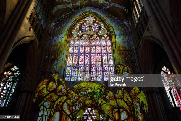 The Nave of York Minster is lit up in a dramatic sound and light display during a media call for the Northern Lights sound and light projection on...