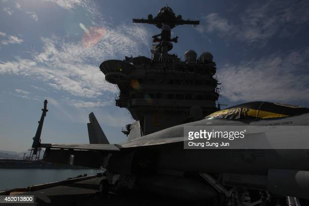 The navigation bridge of Aircraft Carrier USS George Washington is seen whilst at anchor in Busan port on July 11 2014 in Busan South Korea The US...