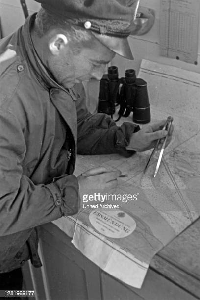 The navigator measures the position Emden Lower Saxony Germany 1950