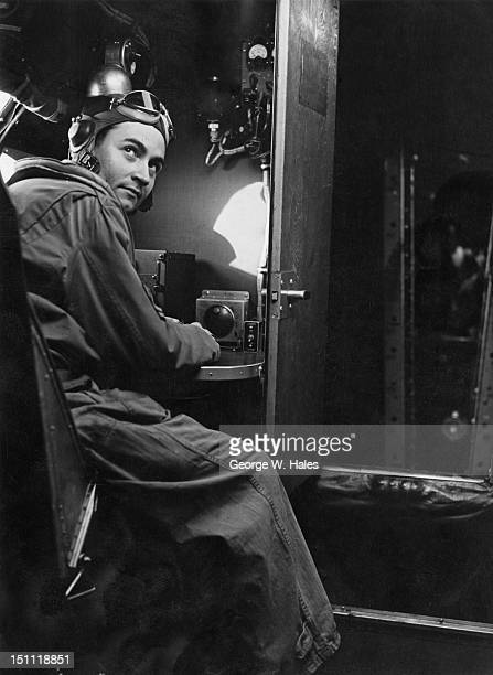 The navigator of a USAAF B-17 Flying Fortress bomber at his post, England, 14th August 1943.