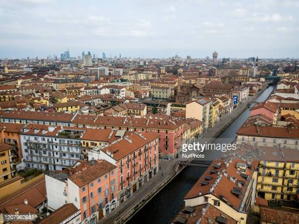 The Navigli district completely emptied of people and with all the premises closed in Milan Italy on March 22 2020