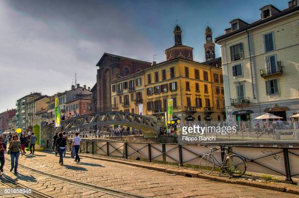 CONTENT] The Naviglio Grande is a canal in Milan joining the Ticino river to the Porta Ticinese dock also known as the Darsena in Milan The banks of...