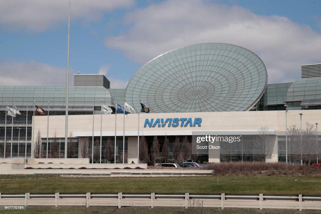 The Navistar company logo hangs above the company's corporate