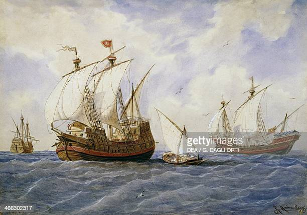 The navy in the Middle Ages, 14th century, by Rafael Monleon y Torres , watercolour. Spain, 19th century.
