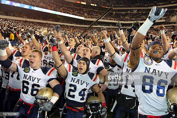 The Navy Midshipmen celebrate their victory after a game against the Army Black Knights on December 11 2010 at Lincoln Financial Field in...