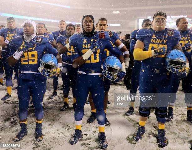 The Navy Midshipmen sing the Navy Blue and Gold after the loss to the Army Black Knights on December 9 2017 at Lincoln Financial Field in...