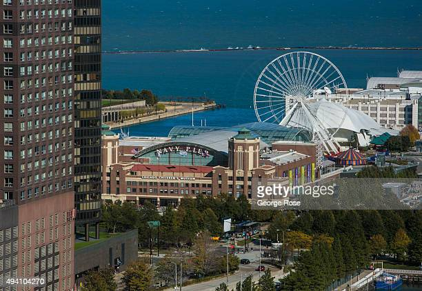 The Navy Pier amusement park is viewed the Sheraton Towers Hotel on October 9 2015 in Chicago Illinois Chicago the third largest city in the United...