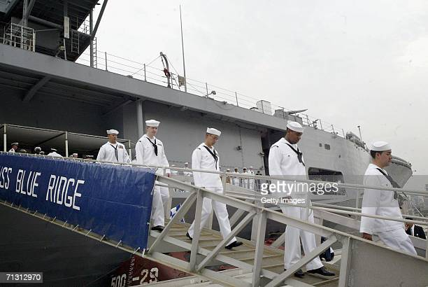 The Navy Staff on the USS Blue Ridge disembark on June 27 2006 in Shanghai China The USS Blue Ridge is in China for a fourday visit