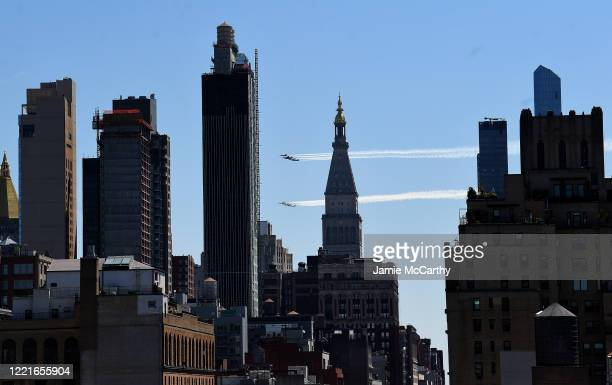 The Navy's Blue Angels and the Air Force Thunderbirds fly over Manhattan on April 28, 2020 in New York City. The Blue Angels and Thunderbirds took to...