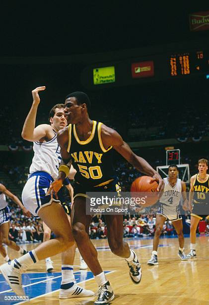 The Navy's David Robinson dribbles downcourt during a NCAA basketball game against Duke
