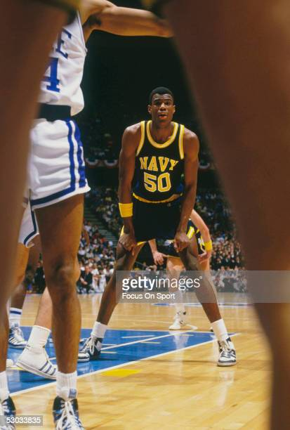 The Navy's David Robinson looks for a pass during a NCAA basketball game against Duke