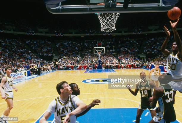The Navy's David Robinson makes a jumpshot during a NCAA basketball game against Cleveland State