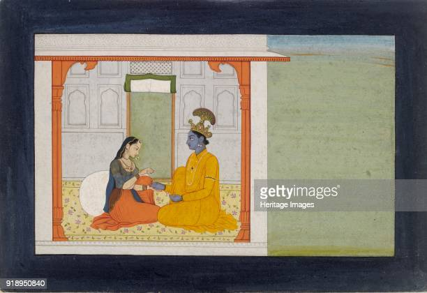 The nayika comments on her lovers new ring 17801785 Krishna and Radha seated in a pavilion a leaf from a Sundar Sringara series Dimensions height x...