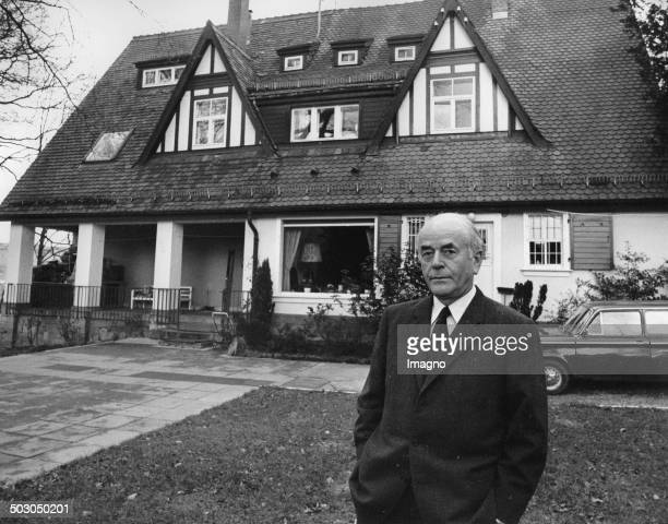 The Nazi architect Albert Speer in front of his childhood home at Heidelberg March 1971 Photograph