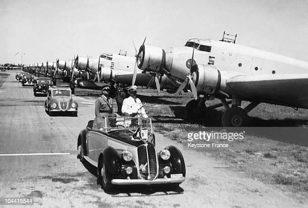 The Nazi Field Marshal Hermann GOERING and the Italian fascist Italo BALBO inspecting a series of triengined SM79 SAVOIAMARCHETTI planes in Tripoli...