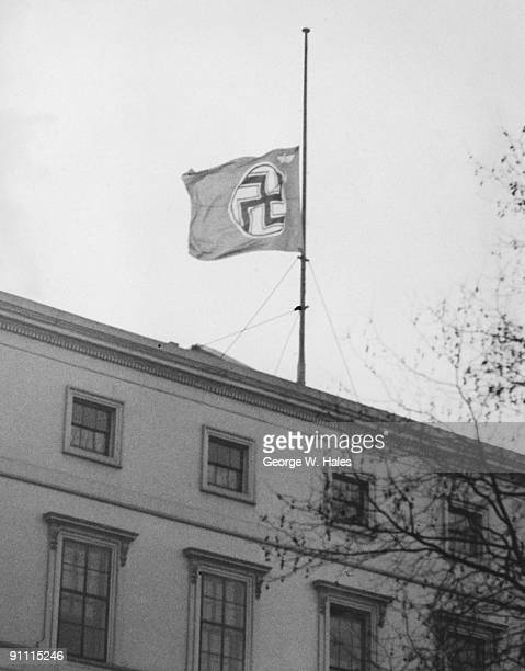 The Nazi flag at half mast over the German Embassy in Carlton House Terrace London after the death of King George V 21st January 1936