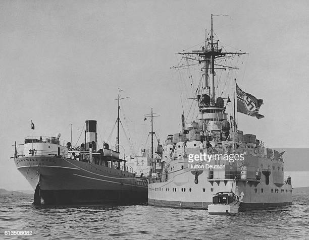 The Nazi German training ship SchleswigHolstein and passenger ship Schwarzes Meer in the English Channel near Falmouth during a peaceful preWorld War...
