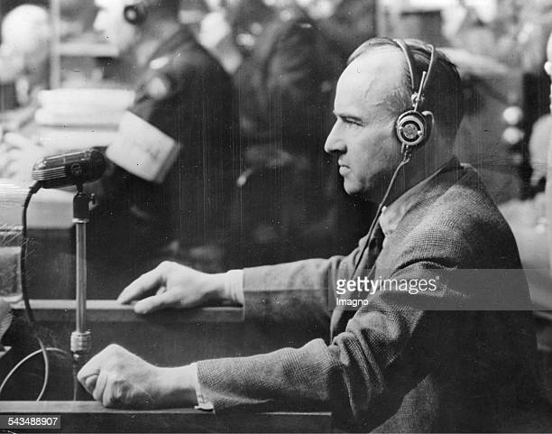 The Nazi Hans Frank at the Nuremberg trials 19th April of 1946 Photograph