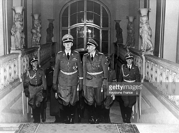 The Nazi Officer Reinhard Heydrich Accompanied By The Governor General Of Poland Karl Hermann Frank Climbing The Entrance Steps To The Castle Of...