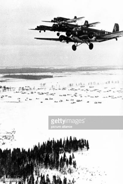 The Nazi propaganda image depicts transport aircraft type Junker Ju 52 on duty on the Eastern Front The photo was published in February 1942 Photo...
