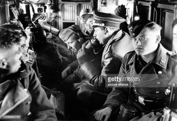 The Nazi propaganda image shows German Wehrmacht soldiers in a Junkers Ju 52 transporter plane Published in April 1940 Photo Berliner Verlag / Archive