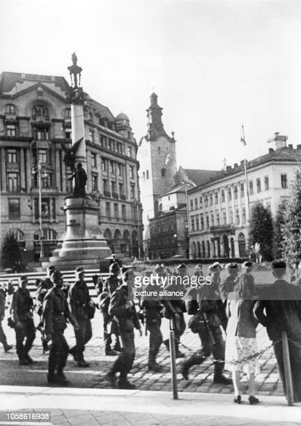 """The Nazi Propaganda! on the back of the picture reads: """"After capturing Lviv. Welcomed by the population German troops march into Lviv."""" Motif from..."""
