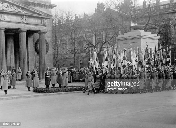 The Nazi propaganda photo shows the flag division marching past the Cenotaph on Unter den Linden in Berlin Germany 15 March 1942 In the front row in...