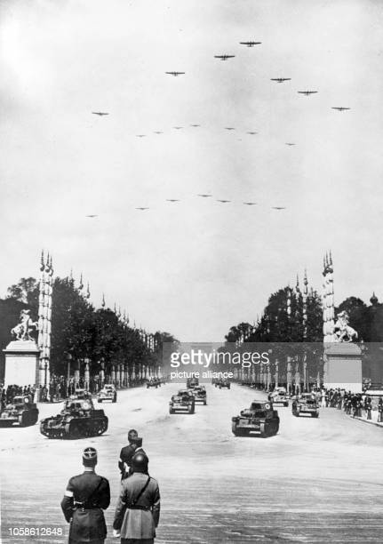 The Nazi propaganda picture shows a French military parade on Bastille Day down the Champs Elysee in Paris France 14 July 1938 Photo Berliner Verlag...