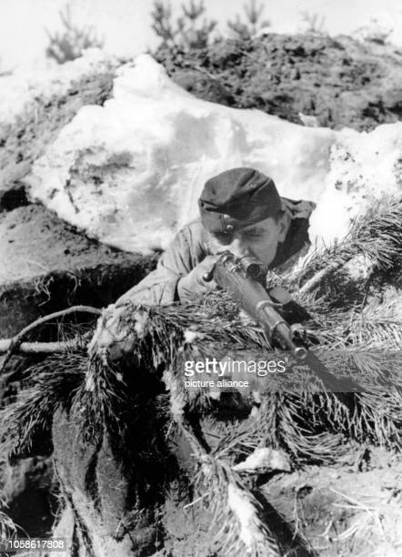 The Nazi propaganda picture shows a sniper of the German Wehrmacht on the Eastern Front at the Dnieper River. The photo was taken in May 1944. Photo:...