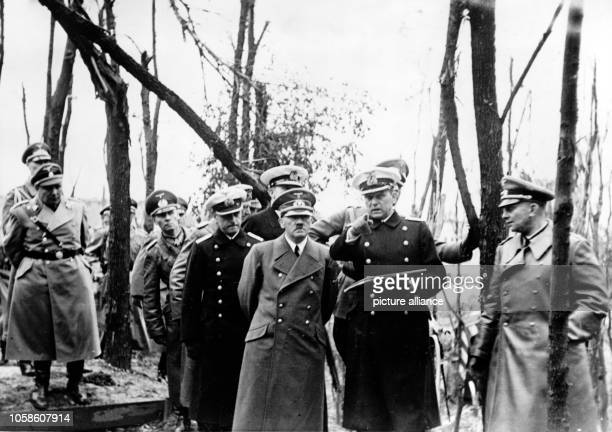 The Nazi propaganda picture shows Adolf Hitler visiting the Westerplatte in Danzig, Poland, September 1939. The German attacks on the Polish...