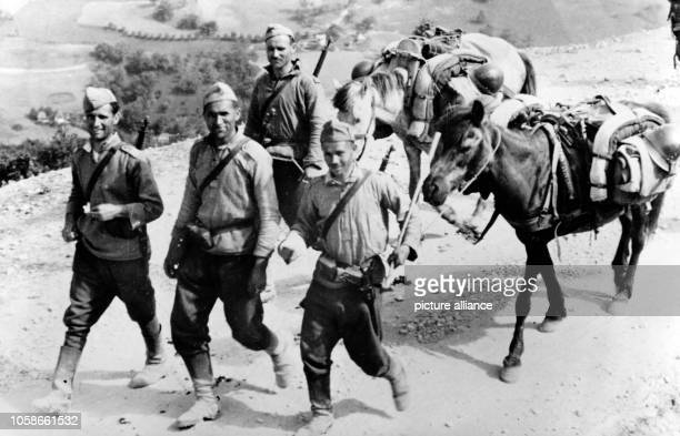 The Nazi propaganda picture shows Bulgarian soldiers fighting partisans in Yugoslavia for the German Wehrmacht. The photo was issued in July 1943....
