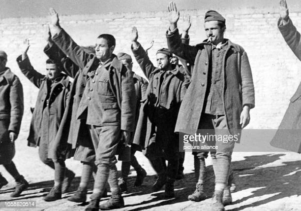 The Nazi propaganda picture shows Greek soldiers captured by the Italian Army on the Greek-Albanian front. The photo was taken in November 1940....