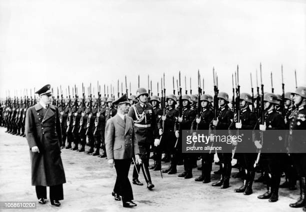 The Nazi propaganda picture shows Reich Minister Joseph Goebbels arriving at the aiport for the Gau Culture Week at the airport in the Free City of...