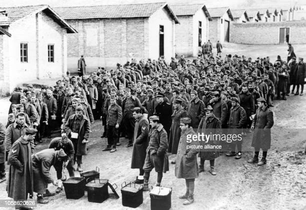 The Nazi propaganda picture shows soldiers captured by the Italian Army in a military prison on the Greek-Albanian front. The photo was taken in...